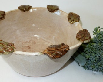 Rustic Off White Handmade Bowl with Leaf Border