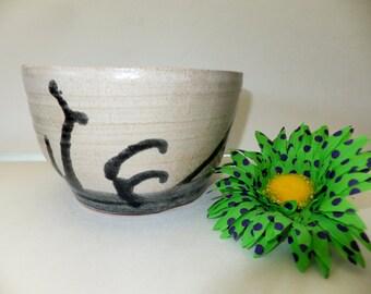 Stormy Seas Off White with Black Ceramic Bowl, Handmade Pottery