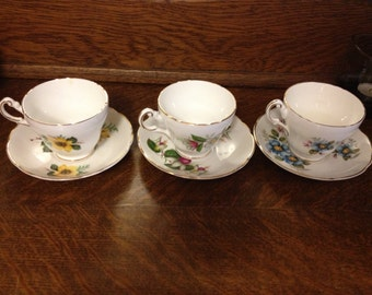 3-set Regency Bone China Cups and Saucers