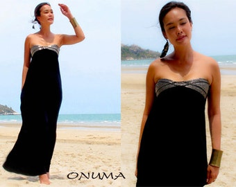 Summer Black strapless Beach evening long maxi dress S M L