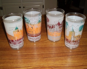 4 Vintage Libby California Franciscan Mission Frosted 12 oz Glasses