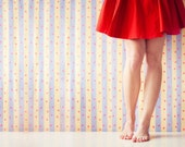 Fine Art Photography Print, Cute Red Dress and Cherry Striped Wallpaper, Red Nails, Toes - 16 x 24 Print