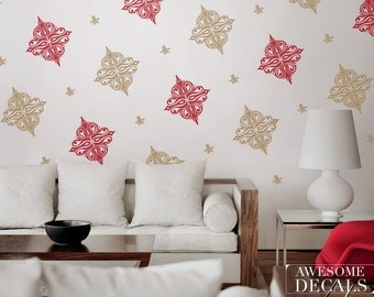 Damask Wall Sticker- Custom Decals – Damask Wall Decal Set - Vinyl Wall Decals - Awesome decals / 037