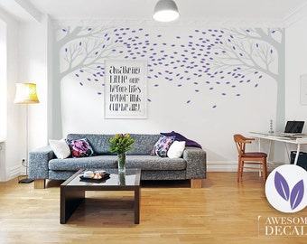 Large Tree Wall Decal - Blowing tree large wall sticker - Vinyl leaf wall Decal / 056