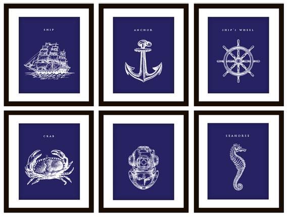 6 Blue Nautical Bedroom Or Bathroom Art Prints ANY Color