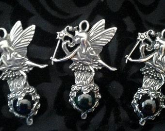 3 Silver Pewter Fairy Goddess Wand Glass Ball Pendants