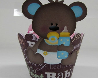 Teddy bear baby cupcake wrapper set of 12