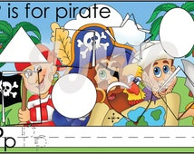 P is for Pirate Alphabet File Folder Game - Downloadable PDF Only