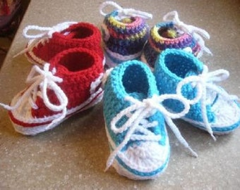 Hand Crocheted Baby Converse Tennis Shoes