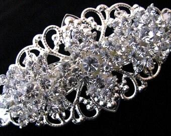 Crystal Rhinestone Wedding Barrette, Bridal Hair Barette, Silver Filigree Vintage Style Hair Clip, Bridesmaids Gift, Flower Girl Accessory