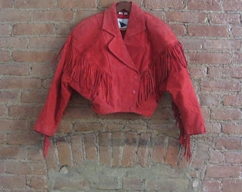 1980s red suede fringe motorcycle jacket | 80's Boho Biker Chick | S to M