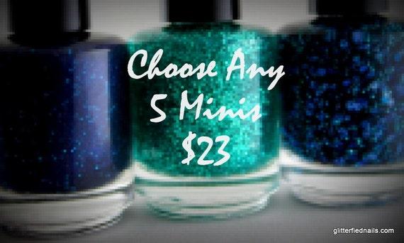 mini nail polish set 5 free nail polish glitter nail polish handmade nail polish indie nail polish vegan cruelty free polish