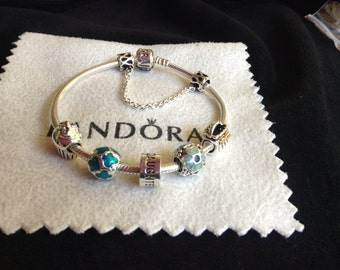 Authentic Pandora Charm BRACELET With Threaded Mixed materials beads