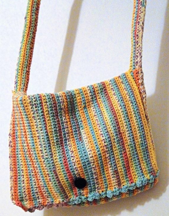 Items similar to Hand Crochet Large Shoulder / Laptop Bag ...