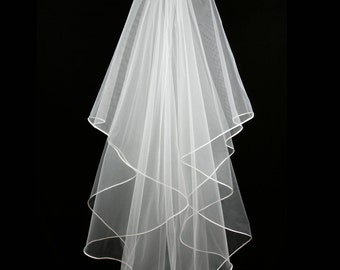 Bridal Veil - Anne Wedding Veil with Satin Ribbon - Veil with Two Layers-Cascade Veil-Bridal Accessories-Drop Veil - Ivory Veil - White Veil