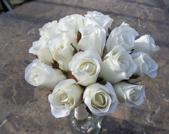 Jessica's Bridal Bouquet with Closed Off White Roses