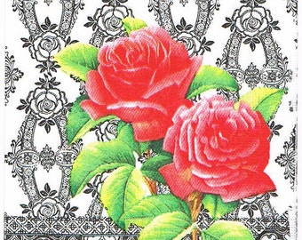 1x Paper napkin for decoupage /Retro Powder Rose white. #97/black and white/red roses/ornament/collectable/flowers/roses/designer napkin.