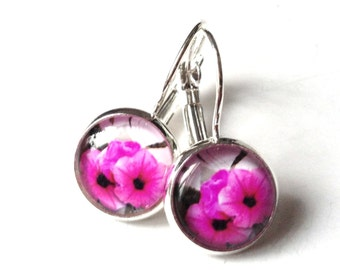 Tropics - pink earrings with flower