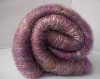 Carded Batts, Purple/Pink Spinning Fiber, Shetland, Merino, Silk 100g / 3.5oz