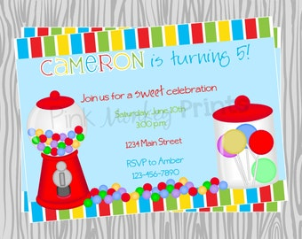 DIY - Colorful Candy Buffet Birthday Party Invitation 1- Coordinating Items Available