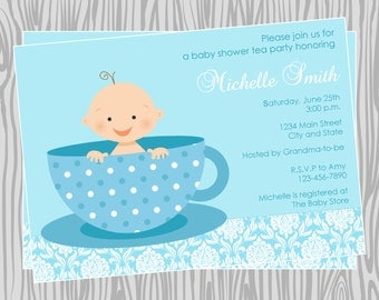 DIY - Baby Boy Tea Party Baby Shower Invitation - Coordinating Items Available
