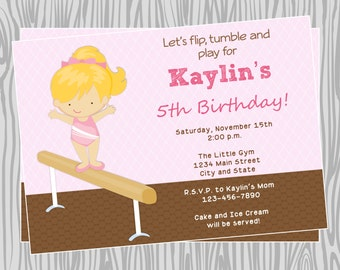 DIY - Girl Gymnast Birthday Party Invitation - Coordinating Items Available