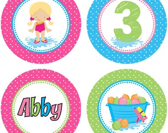 DIY - Girls Pool Party and Water Games  Birthday Cupcake Toppers- Coordinating Items Available