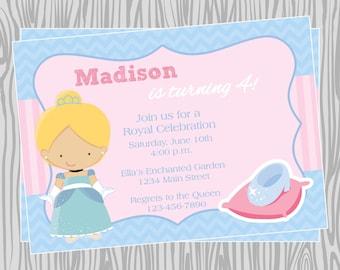 DIY - Girl Cinderella Princess Inspired Birthday Party Invitation 1- Coordinating Items Available