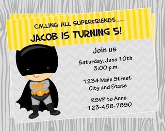DIY - Boy Superhero Birthday Party Invitation - Coordinating Items Available