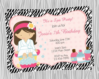 DIY -  Girl Zebra Print Spa Birthday Invitation 1- Coordinating Items Available