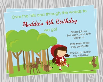 DIY - Girl Little Red Riding Hood Inspired Birthday Party Invitation - Coordinating Items Available