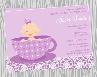 diy baby girl tea party baby shower invitation in purple items available