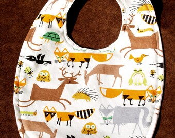 Organic Cotton Baby Bib Forest Animals