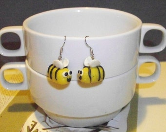 Funny bees earrings in polymer clay