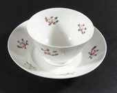 Early 1800 Hand Painted Rose Tea Bowl and Saucer