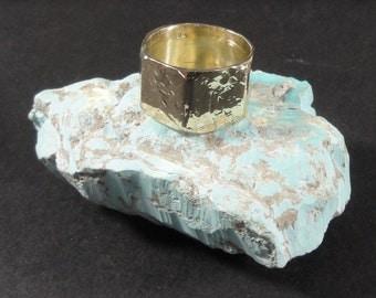 Artisan STIFLAN Hammered and Stamped Panel Brass Ring
