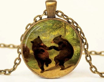 Dancing Bear Necklace with Chain Altered Art Picture Resin Pendant Glass Pendant Picture Pendant Photo Pendant Art Pendant