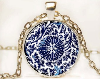 Blue and White Asian Porcelain Pendant Art Pendant Necklace Altered Art Photo Pendant Picture Pendant 14