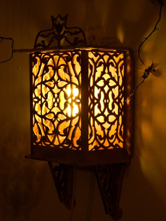 Wooden Lamp Rustic wood lighting decor wall light carved wall