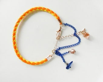 Neon rope bracelet. Yellow bracelet. Neon yellow and blue bracelet. Blue shell bracelet.