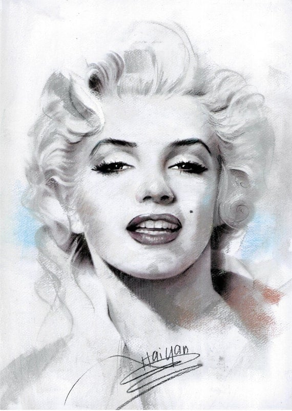 Items similar to painting of marilyn monroe canvas 24x36 for Marilyn monroe tattoo canvas