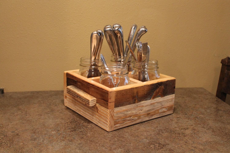 Rustic mason jar utensil holder