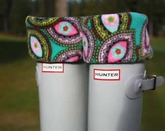 Pink and Blue Paisley Fleece Rain Boot Liners.  Unique cuff pattern!!!   For Bogs, Aigles, Hunters and more.