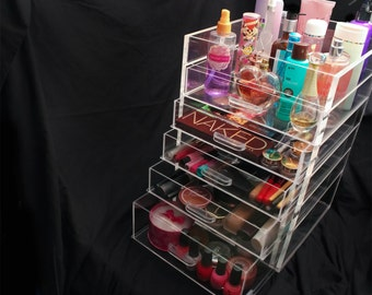 Clear Acrylic Makeup Organizer 5 6 or 7 Drawer Kardashian-style Storage Box Cube Case w/ Flip Top Quality Design Cute Beauty Bath