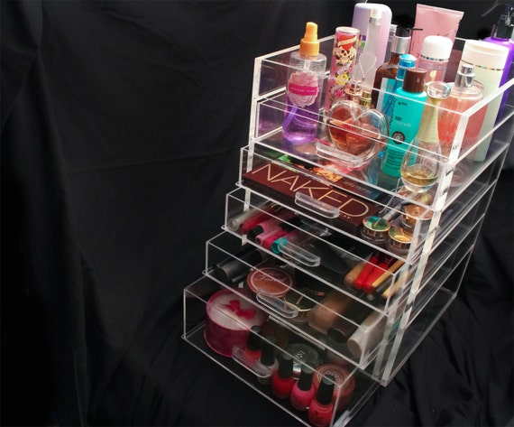 clear acrylic makeup organizer cube with 7 drawers 3