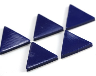 90s' Blue Triangles. Vintage Geometric Form. 5 Pieces.