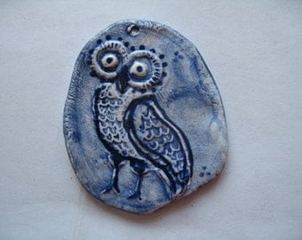 Owl ornament w/ cobalt blue color #10