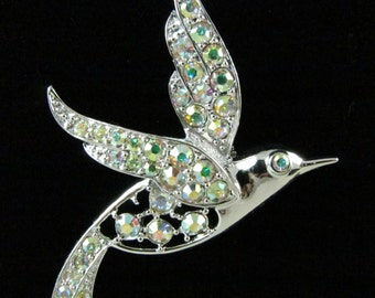 "Beautiful"" Bird of Paradise"" By Sarah Coventry This  Pin is All Done In a Beautiful Silver Tone Aurora Borealis Rhinestones"