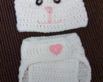 Crocheted Bunny Baby hat with matching diaper cover.