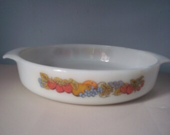 Vintage Fire King Nature's Bounty Casserole dish
